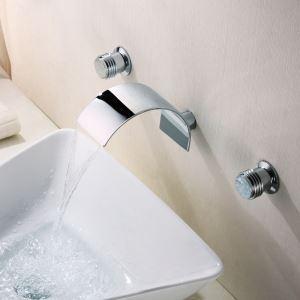 Modern Waschtisch Armatur Chrom Wasserfall Wandmontage Zweihebel