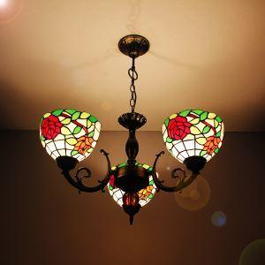 (EU Lager)Tiffany Kronleuchter Antik Landhaus Stil 3 flammig Glas Lampenschirm
