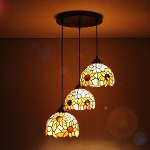 (EU Lager)Tiffany Pendelleuchte Rustikal Antik Stil Sonnenblume-Muster-Lampenschirm 3 flammig