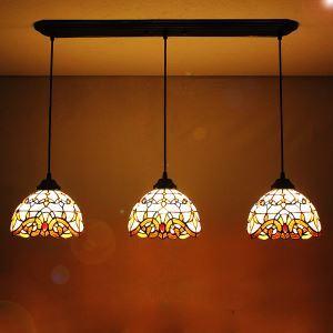 (EU Lager)Tiffany Pendelleuchte Rustikal Antik Stil Glas Lampenschirm 3 flammig 8 Zoll