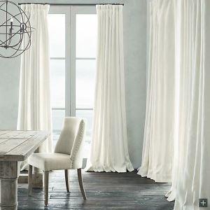 Vorhang Weiß Uni Leinen Baumwolle ( 1 Stück )