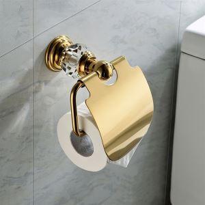 (EU Lager) Zeitgenössisch Wandmontage WC-Rollenhalter Gold Kupfer & Kristall