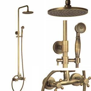 (EU Lager)Duscharmatur Antik Messing mit Duschkopf und Handbrause