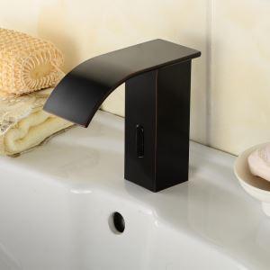Waschtischarmatur Elektronisch Sensor Wasserhahn in Schwarz