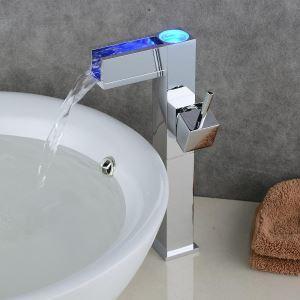 (EU Lager)LED Waschtischarmatur Modern Einhandmischer Galvanisiert Silber