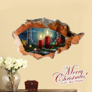 (EU Lager)3D Wandtattoo Weihnachten Kerzen Weihnachtdeko