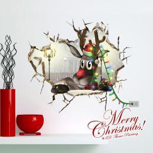 (EU Lager)3D Wandtattoo Weihnachten Rentier Weihnachtsdeko