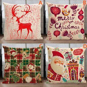 (EU Lager) Moderne Kissenhülle Weihnachten Leinen Weihnachtsdeko