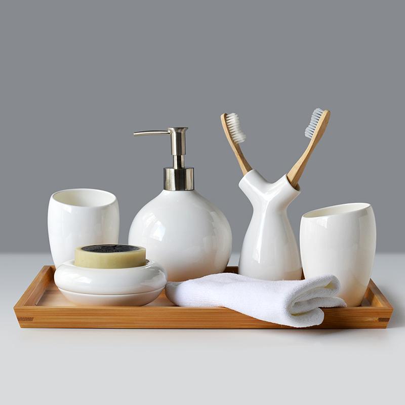 Moderne Bad-Accessoire-Set 6-teilig Keramik Weiß