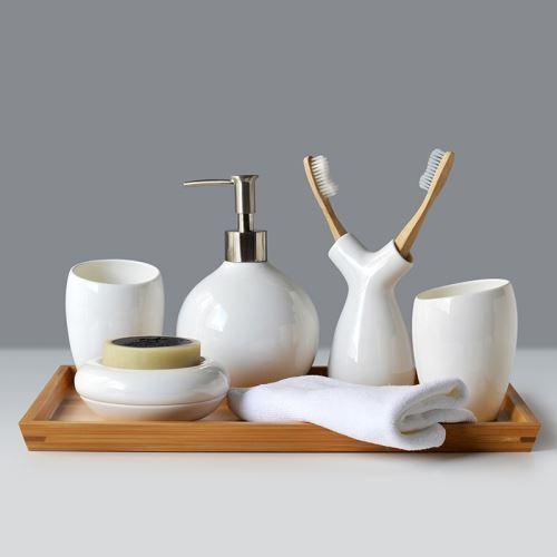 Moderne Bad Accessoire Set 6 Teilig Keramik Weiss