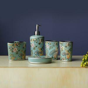 (EU Lager)Landhaus Design Bad-Accessoire-Set 5-teilig aus Keramik