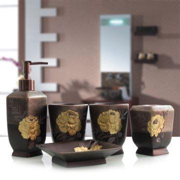 design bad accessoire set 5 teilig aus resin. Black Bedroom Furniture Sets. Home Design Ideas