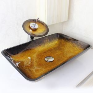 (EU Lager) Modern Waschbecken Set Glas Eckig mit Wasserfall Wasserhahn
