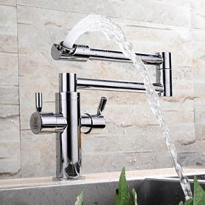 (EU Lager)Design Küchenarmatur Schwenkbar Messing Chrom