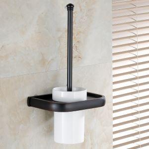 (EU Lager)WC Bürstenhalter Antik Messing Bad Accessoires Schwarz