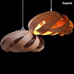 (EU Lager)Holz Pendelleuchte Landhaus Stil Spirale Design
