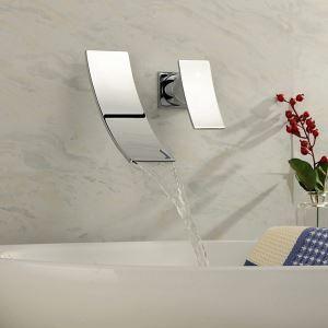 (EU Lager)Waschtischarmatur Wandmontage Modern Wasserfall Edelstahl Chrom
