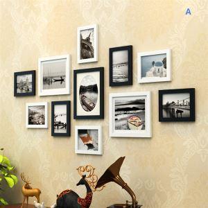 (EU Lager)Schwarz-Weiß Wand Bilderrahmen-11er Set