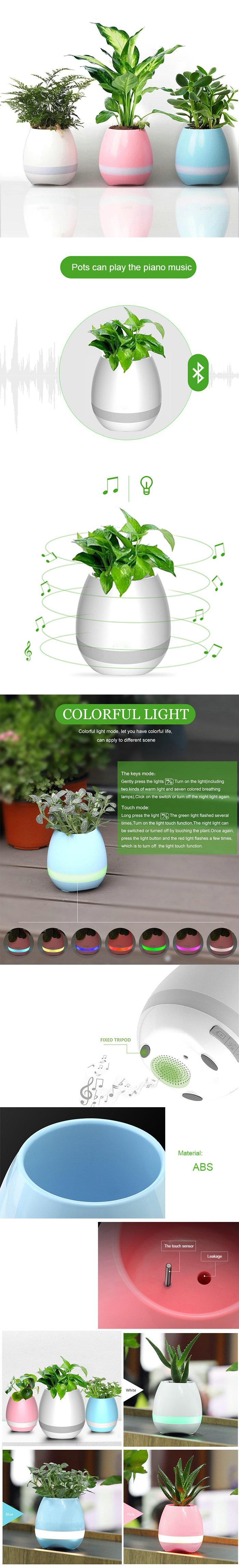 Musik Blumentopf Bluetooth Lautsprecher Drahtlos Smart Touch mit Nachtlicht Klavier auf einem echten Pflanzen spielen (Pflanzen nicht inklusive)