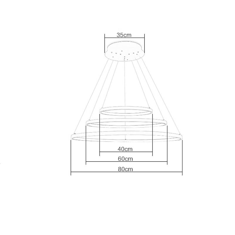 (EU Lager)Led Pendelleuchte Modern Ring Design aus Aluminium 80+60+40cm